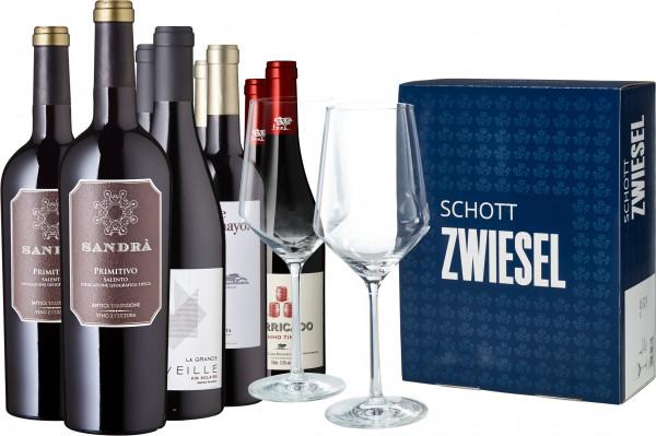 Weine von Spitzenerzeugern inkl. zwei Schott Zwiesel Gläsern