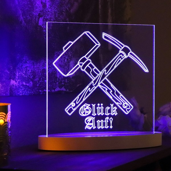 "LED-Lampe ""Glück Auf 1 (Hammer&Schlägel)"" inkl. Sockel"