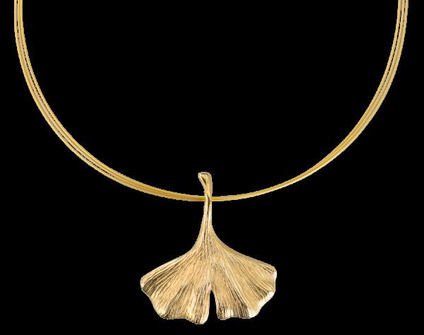 Ginkgo-Collier in 925er-Sterlingsilber, vergoldet