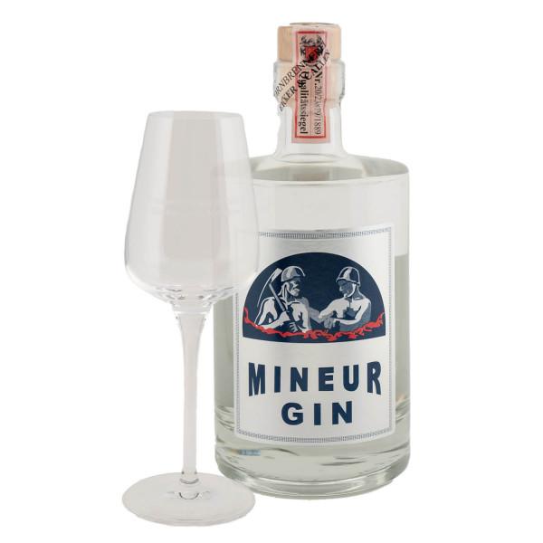 """""""Mineur Gin"""" 0,5l Flasche, 44,7% Vol. + Tasting-Glas"""