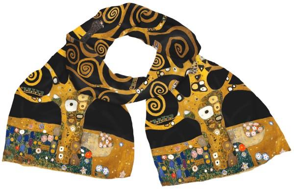 """Gustav Klimt: Seidenschal """"Lebensbaum"""", schwarze Version"""