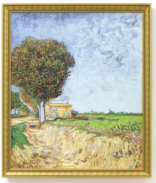 """Bild """"Allee bei Arles mit Häusern"""" (1888) - Vincent van Gogh"""