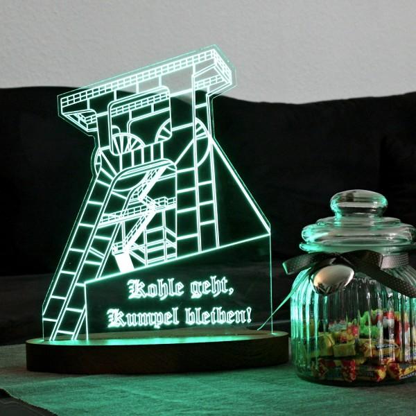 """LED-Lampe """"Kohle Geht, Kumpel Bleiben"""" inkl. Sockel"""